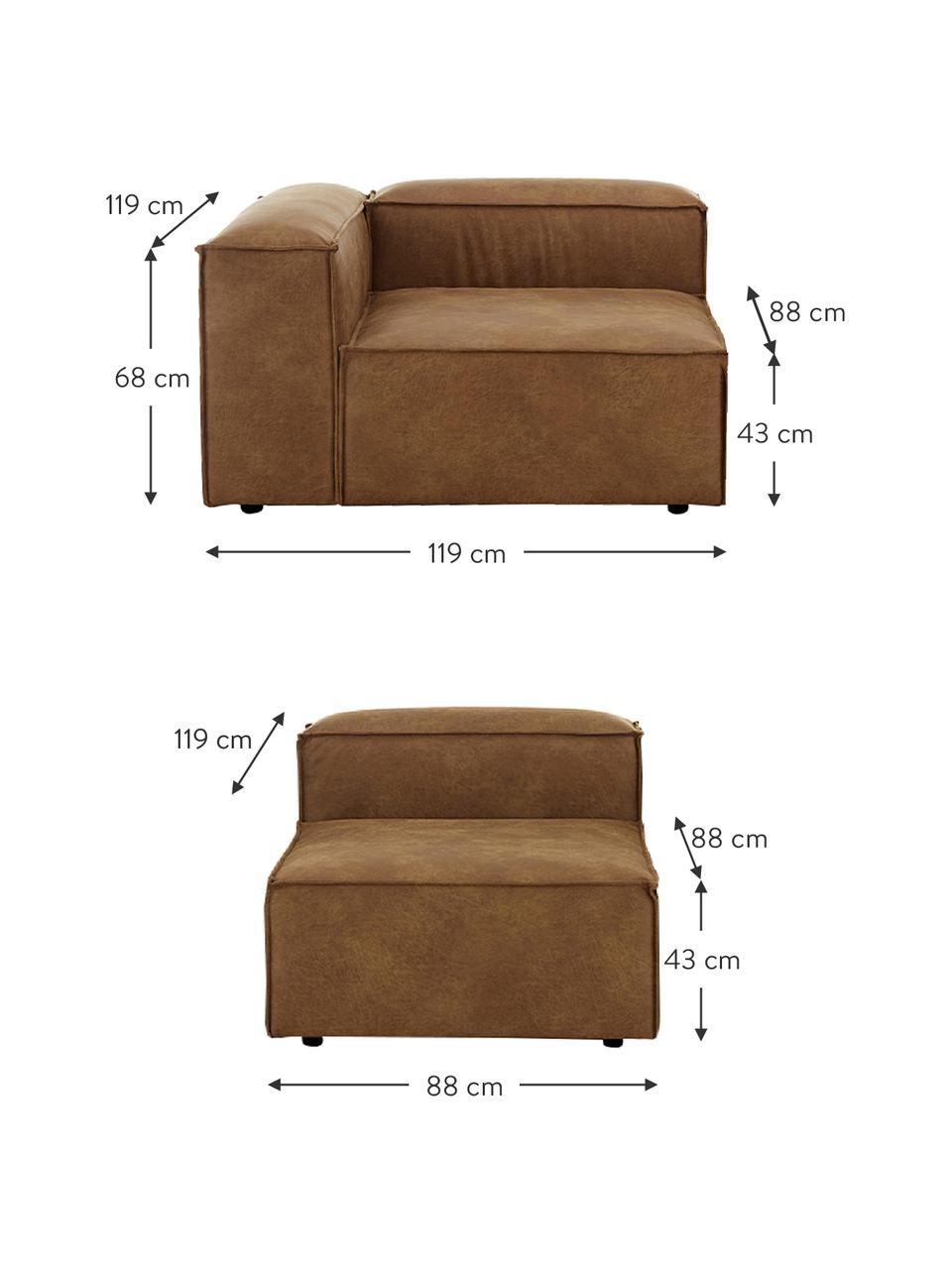 Modulares Sofa Lennon (4-Sitzer) in Braun aus recyceltem Leder, Bezug: Recyceltes Leder (70% Led, Gestell: Massives Kiefernholz, Spe, Füße: Kunststoff Die Füße befin, Leder Braun, B 327 x T 119 cm