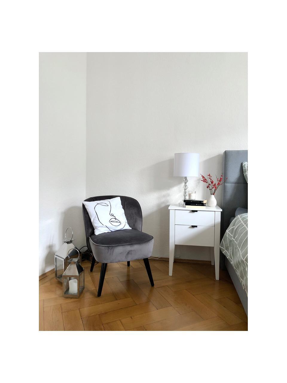 Fluwelen stoel Lucky, Bekleding: fluweel (polyester), Poten: rubberhout, gelakt, Bekleding: donkergrijs. Poten: zwart, B 59 x D 68 cm