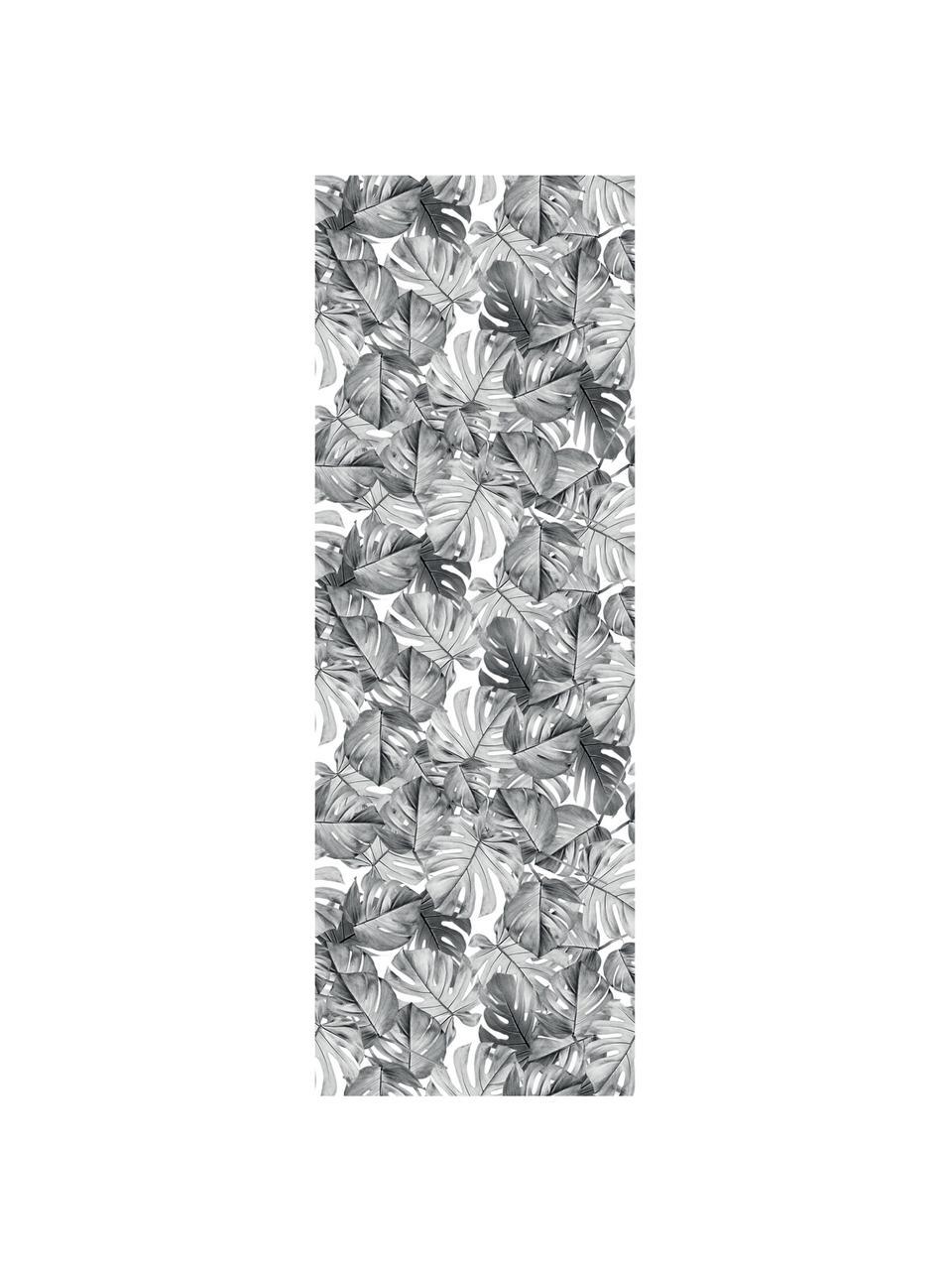 Carta da parati Monstera, Tessuto non tessuto, ecologico e biodegradabile, Nero, bianco, Larg. 97 x Alt. 280 cm