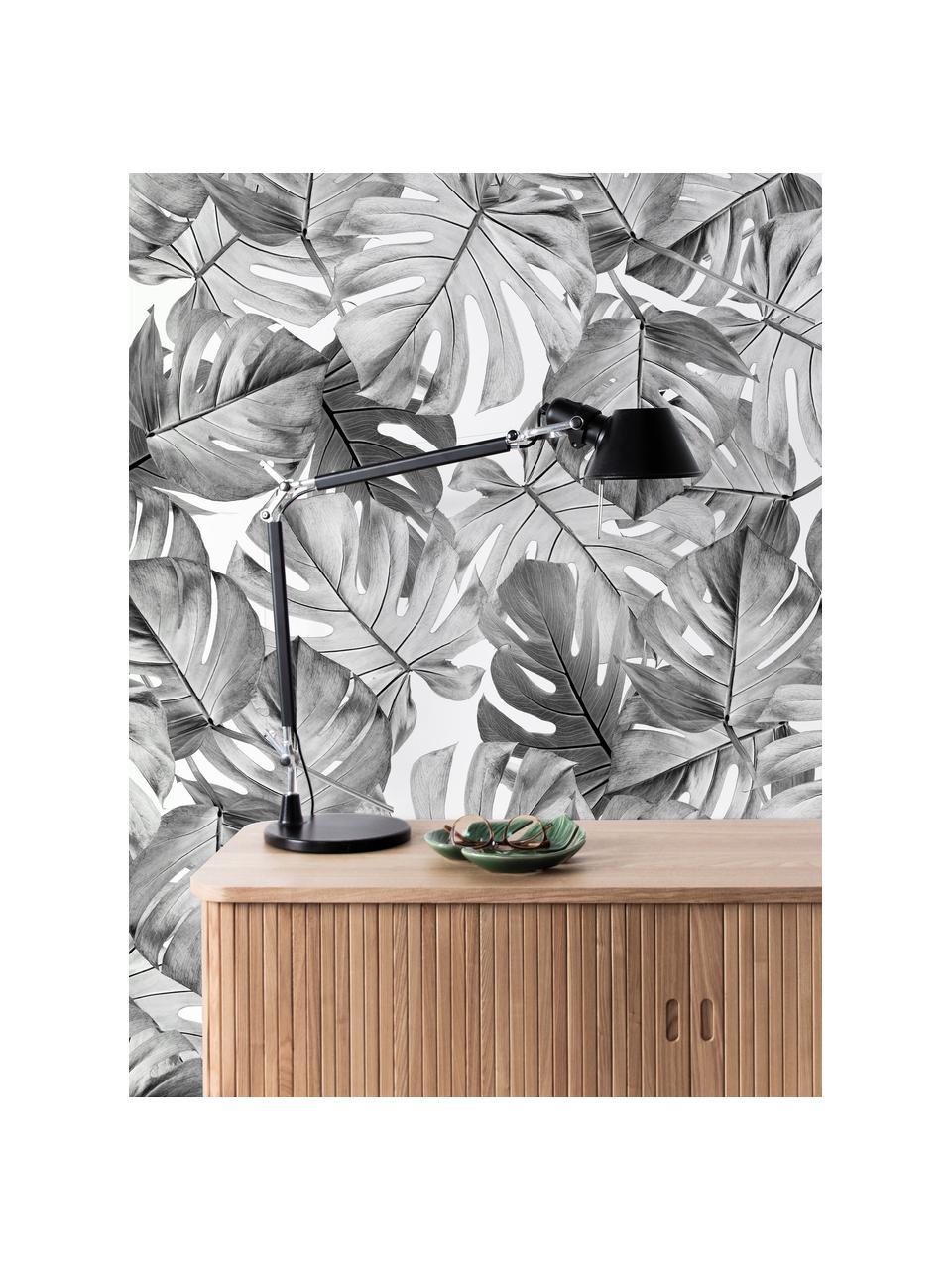 Fotobehang Monstera, Vlies, milieuvriendelijk en biologisch afbreekbaar, Zwart, wit, 97 x 280 cm