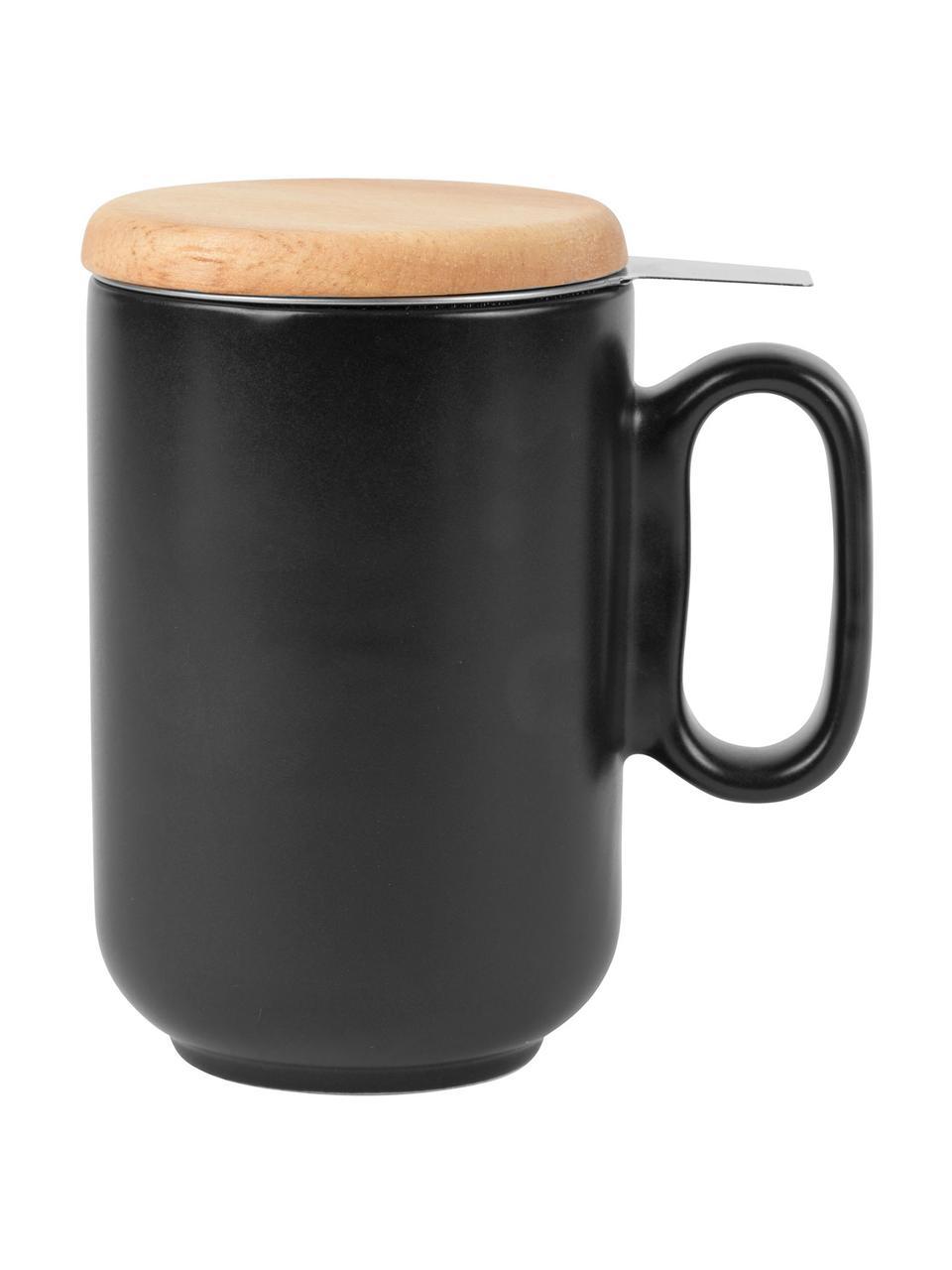 Tasse Baltika mit Teesieb und Deckel, Becher: Steingut, Deckel: Bambus, Sieb: Rostfreier Stahl, Schwarz, Bambus, Ø 9 x H 14 cm