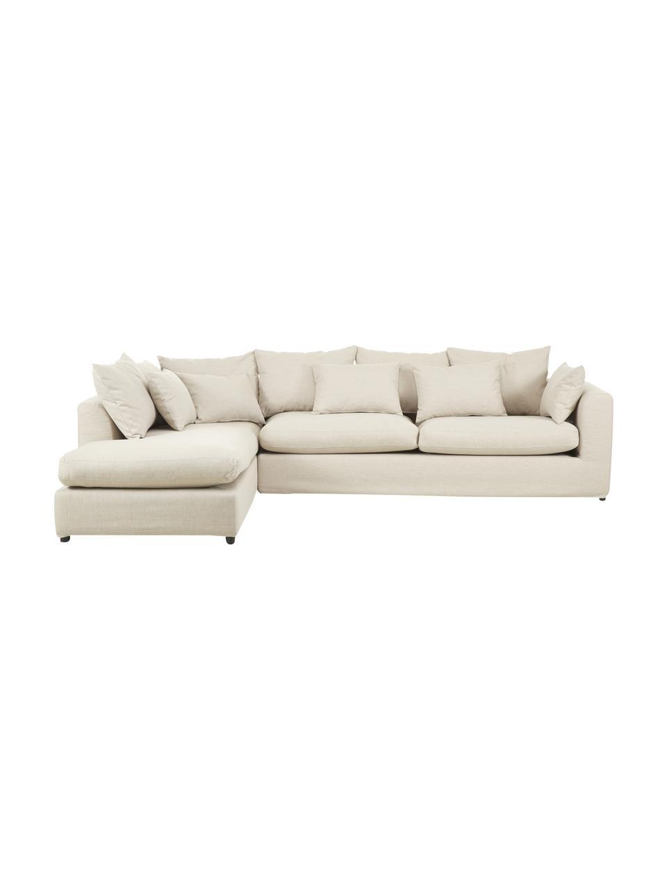 Grand canapé d'angle beige Zach, Tissu beige