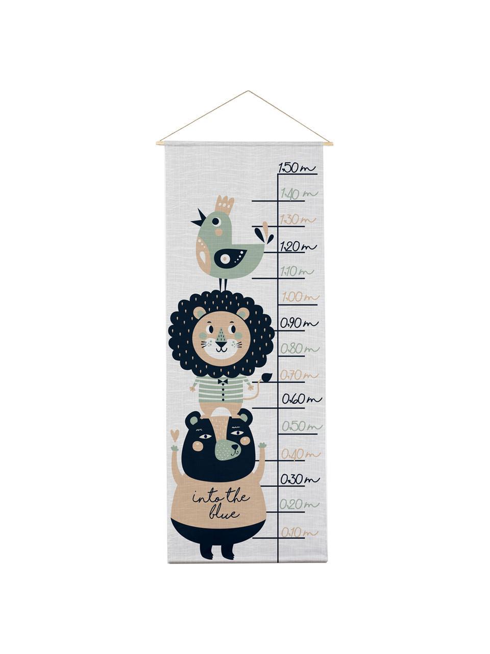 Meetlat Lion, Polyester (microvezels), Grijs, zwart, groen, beige, 40 x 155 cm