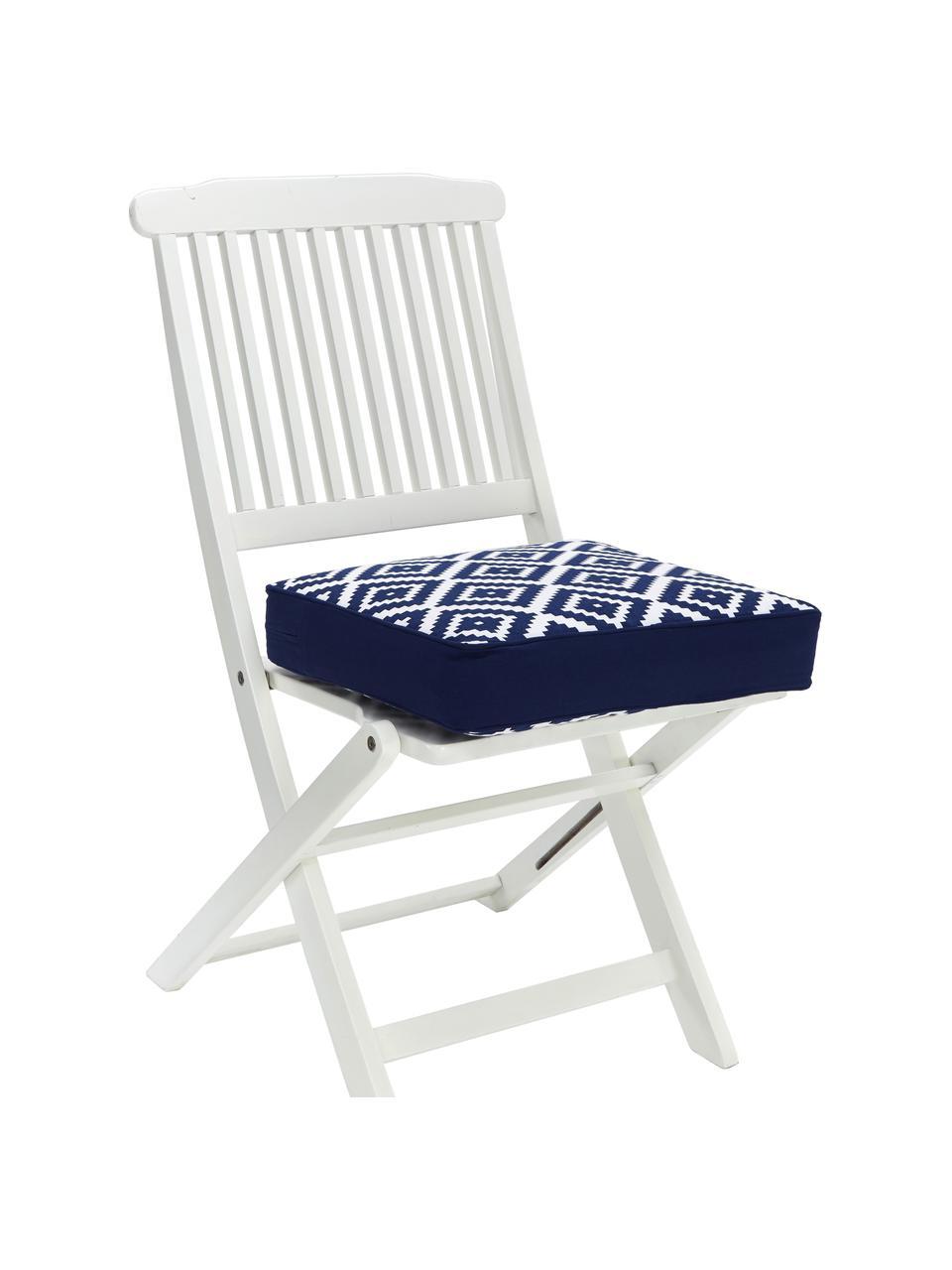 Hohes Sitzkissen Miami in Dunkelblau/Weiß, Bezug: 100% Baumwolle, Blau, 40 x 40 cm