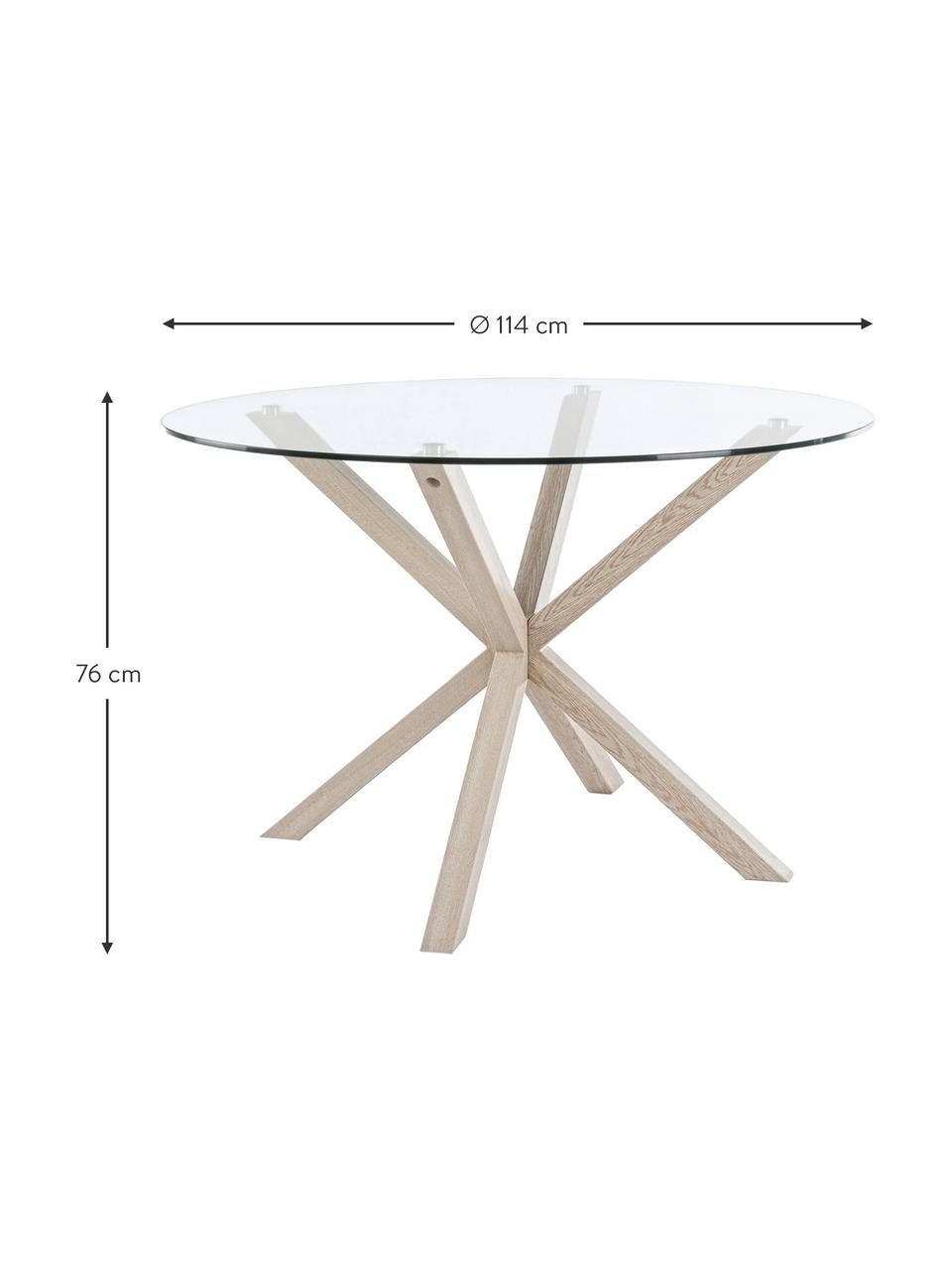 Stół do jadalni ze szklanym blatem May, Blat: szkło utwardzone, Nogi: metal foliowany, imitacja, Transparentny, drewno dębowe, Ø 114 x W 76 cm