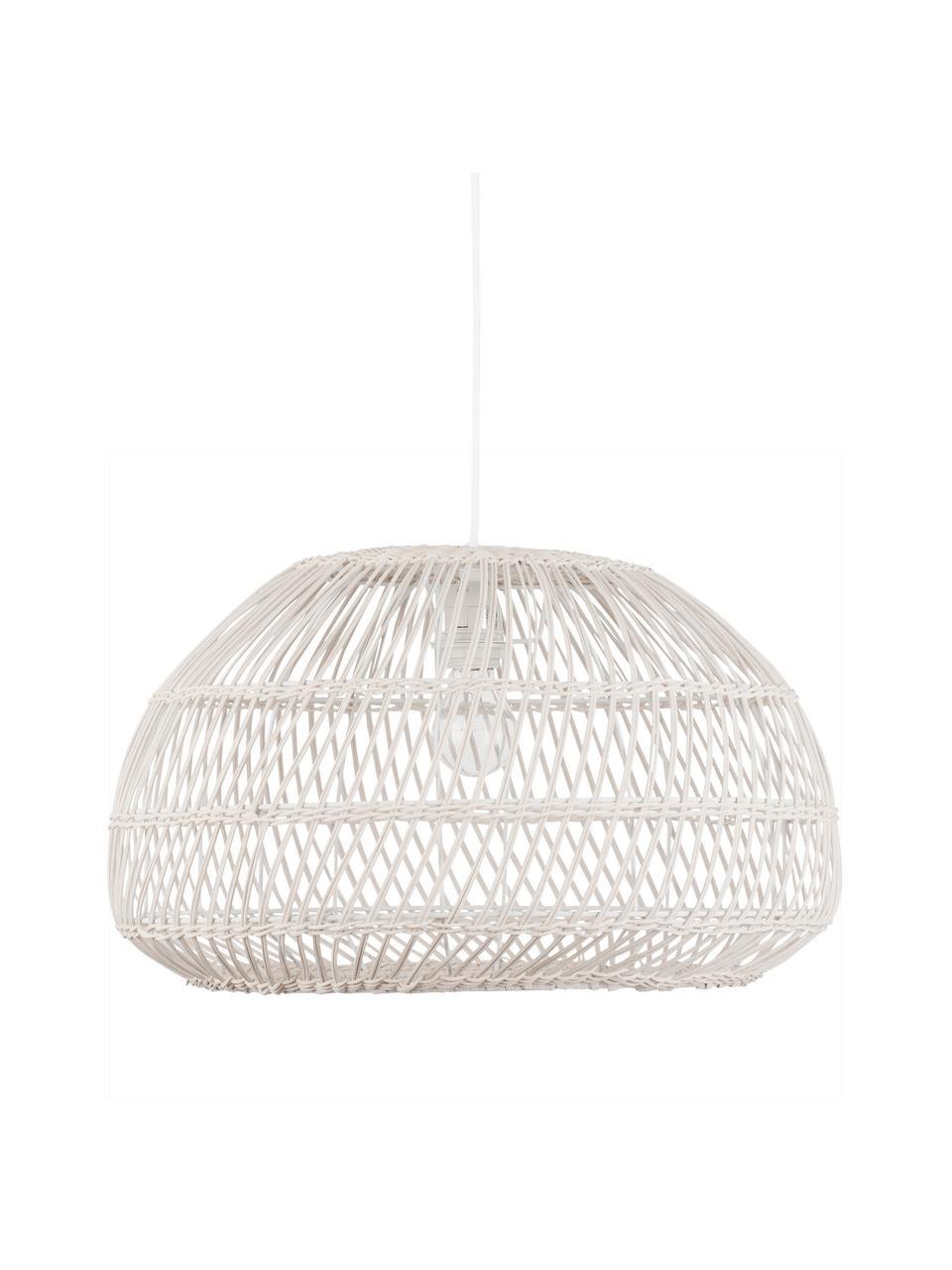 Lampa wisząca z rattanu Melody, Złamana biel, Ø 51 x W 30 cm