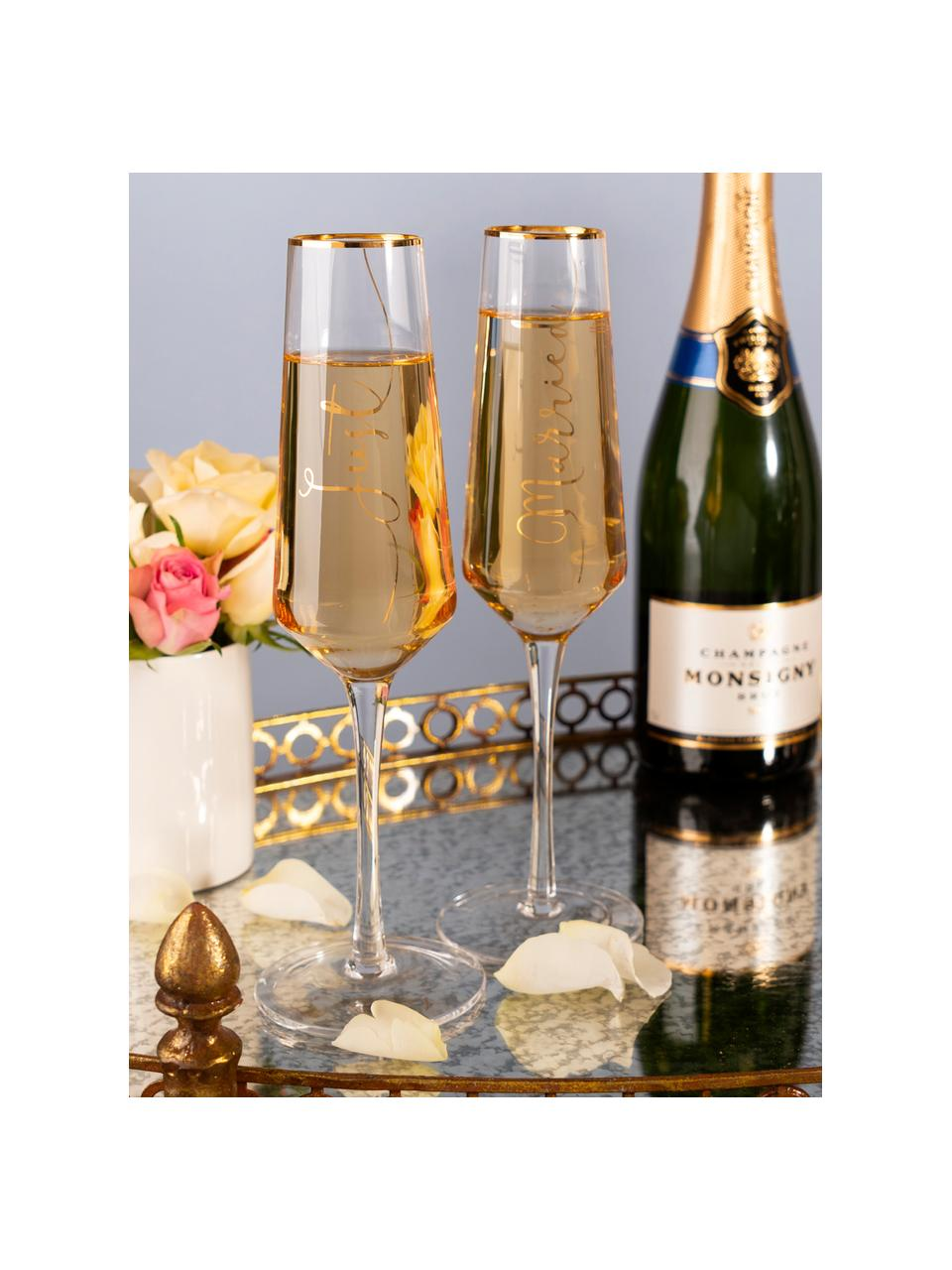 Kieliszek do szampana Just Married, 2 elem., Szkło, Transparentny, odcienie złotego, Ø 6 x W 26 cm