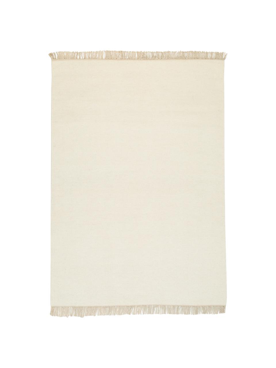 Tapis pure laine blanc cassé tissé main Rainbow, Tapis: blanc cassé Franges: beige
