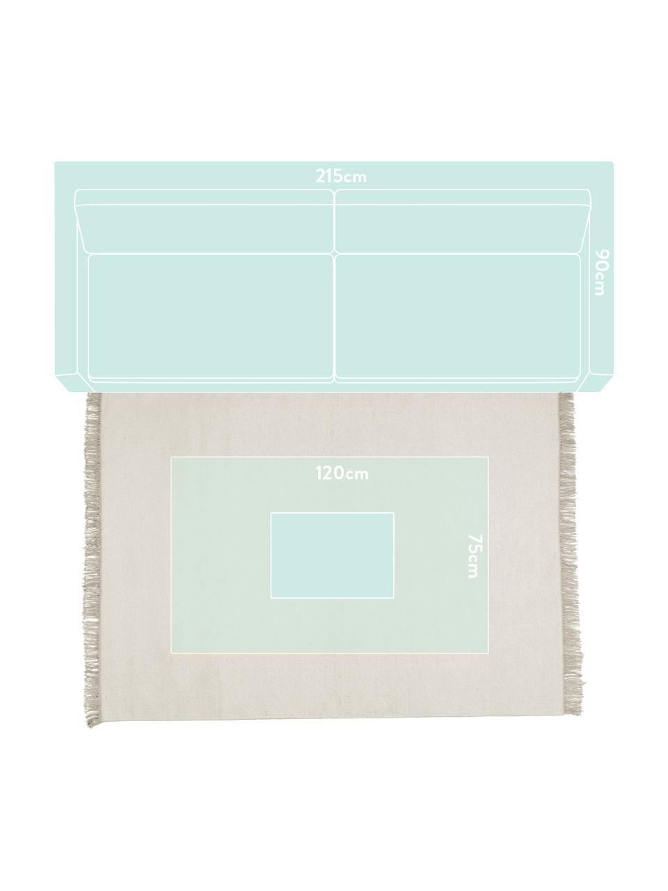 Ręcznie tkany dywan kilim z wełny z frędzlami Rainbow, Naturalny biały, S 140 x D 200 cm (Rozmiar S)