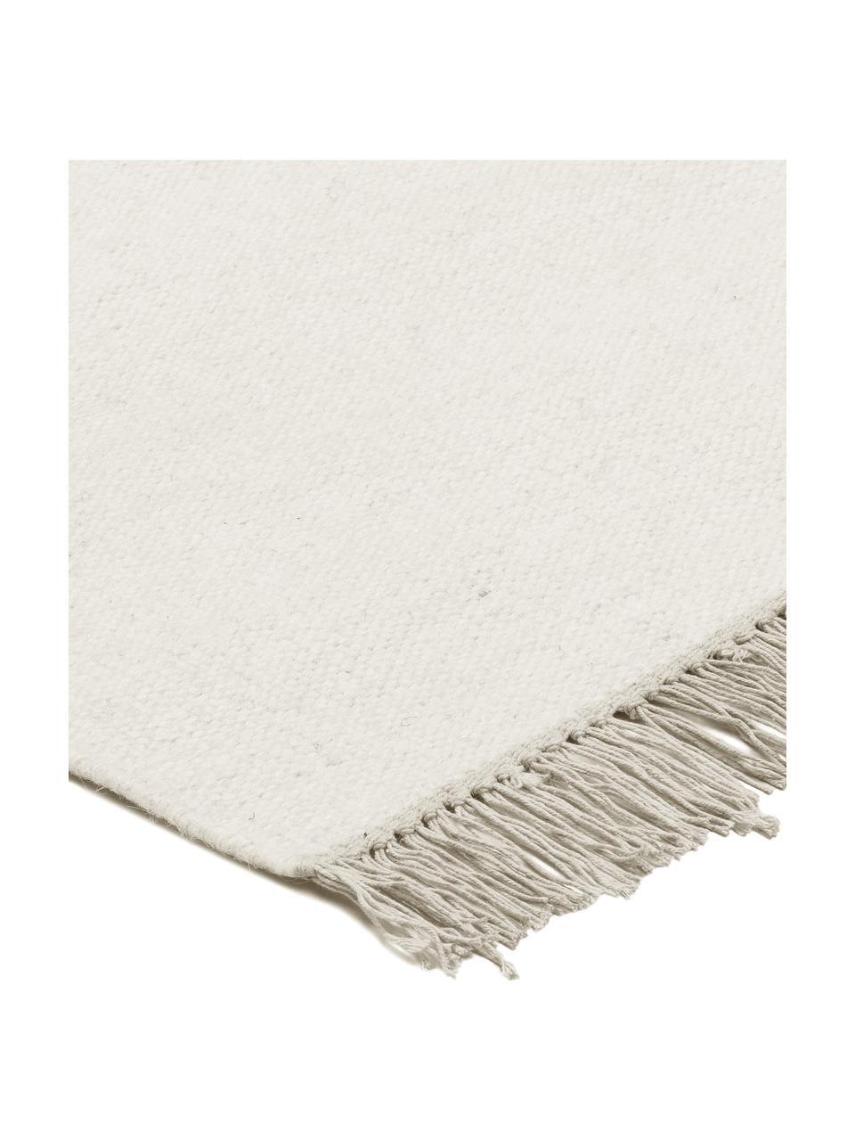 Tappeto Kilim in lana tessuto a mano con frange Rainbow, Frange: 100% cotone Nel caso dei , Bianco naturale, Larg. 170 x Lung. 240 cm (taglia M)