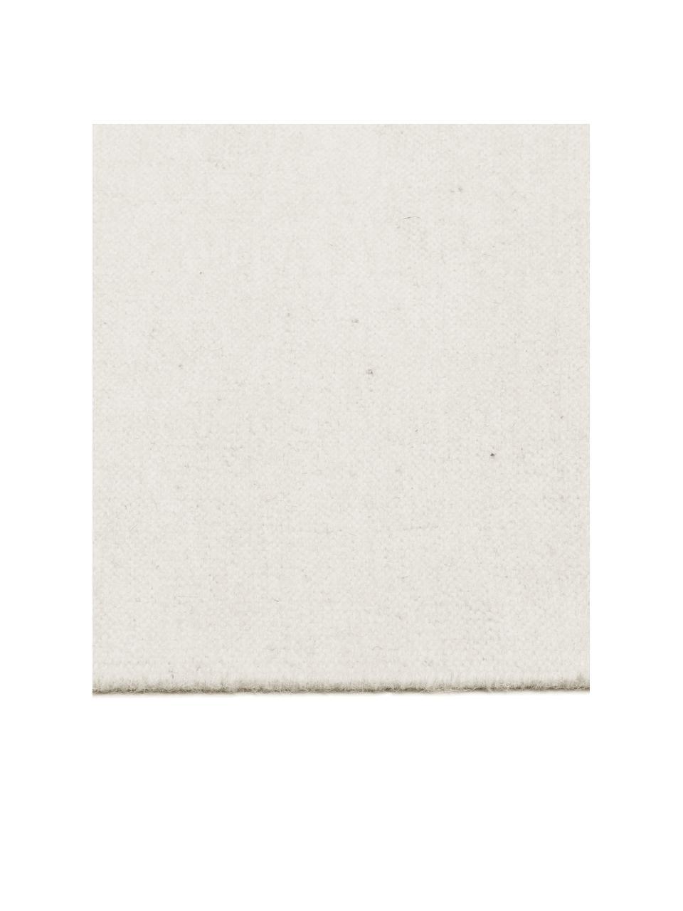 Handgeweven Kelim vloerkleed Rainbow van wol in gebroken wit met franjes, Franjes: 100% katoen Bij wollen vl, Natuurwit, B 170 x L 240 cm (maat M)