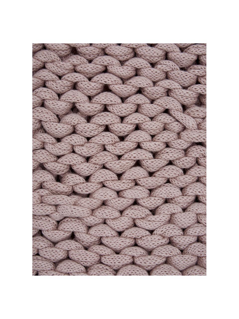 Handgemachte Grobstrick-Decke Adyna in Altrosa, 100% Polyacryl, Altrosa, 130 x 170 cm