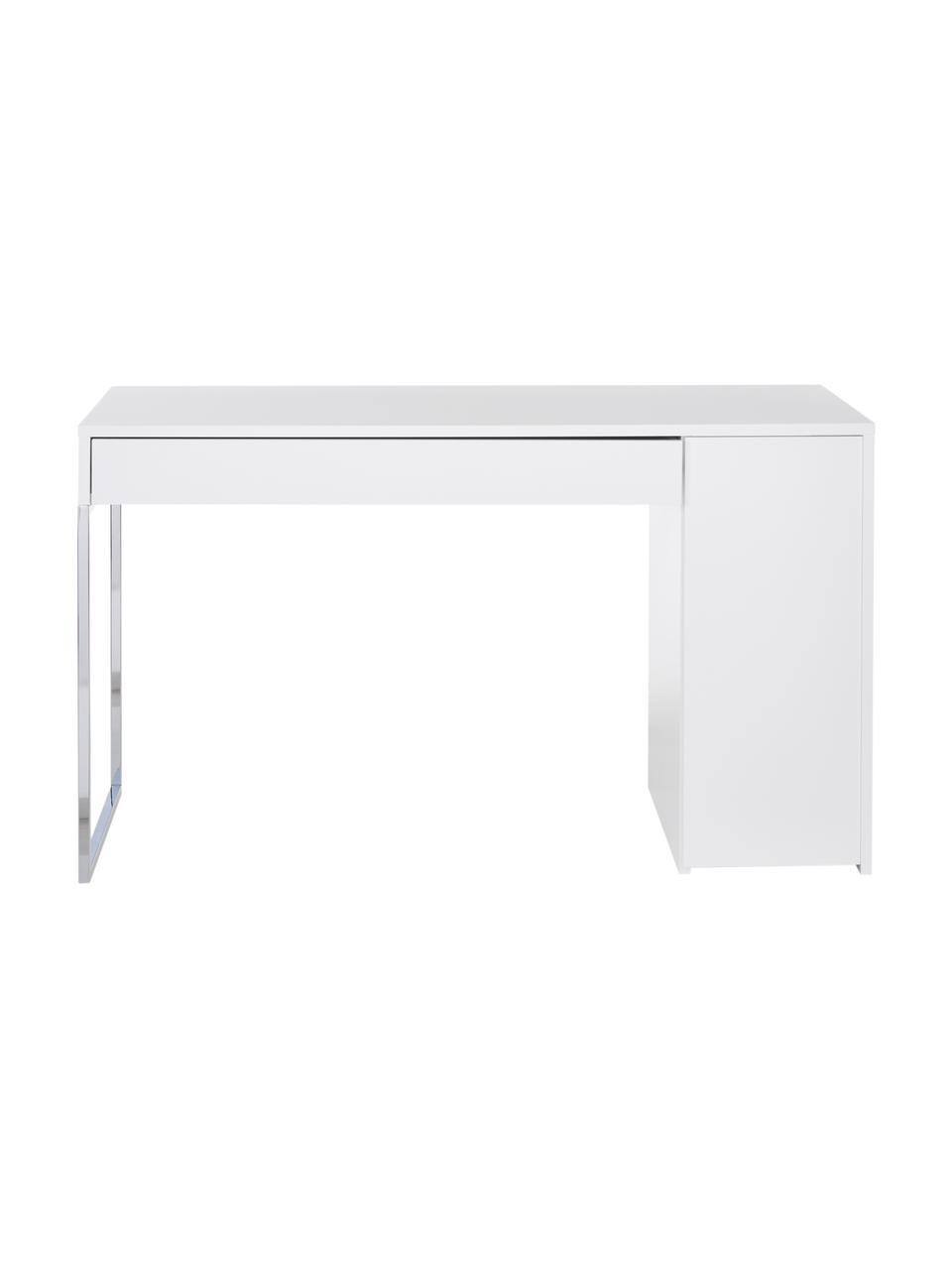 Schreibtisch Tiago in Weiß, Oberfläche: Echtholzfurnier, Korpus: Holzfaserplatte, Spanholz, Weiß, matt Beine: Metall, verchromt, B 130 x T 60 cm