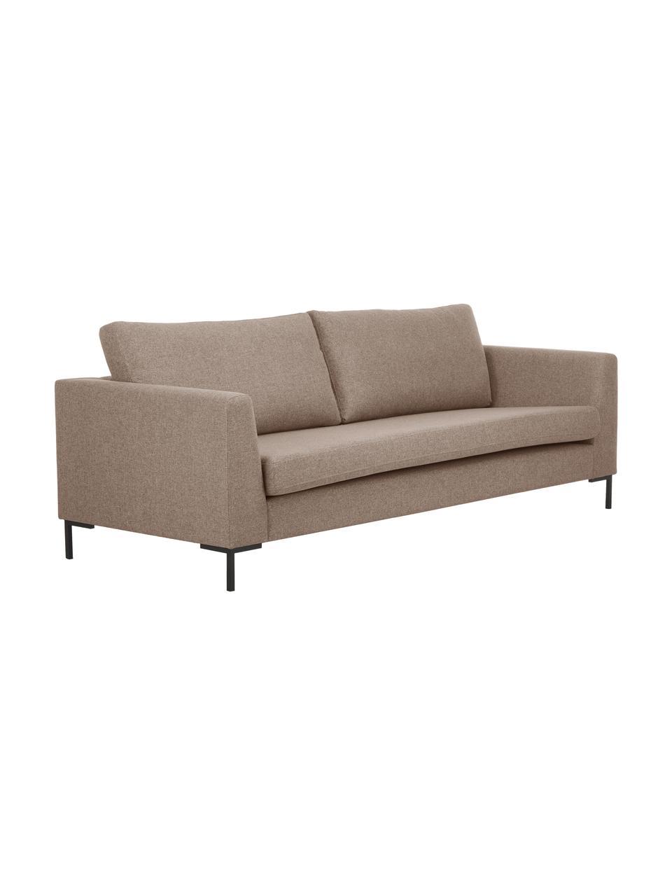 Sofa Luna (3-Sitzer) in Braun mit Metall-Füßen, Bezug: 100% Polyester Der hochwe, Gestell: Massives Buchenholz, Füße: Metall, galvanisiert, Webstoff Braun, B 230 x T 95 cm
