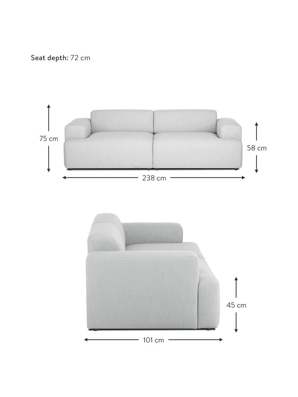 Bank Melva (3-zits) in lichtgrijs, Bekleding: 100% polyester, Frame: massief grenenhout, FSC-g, Poten: kunststof, Lichtgrijs, 238 x 101 cm