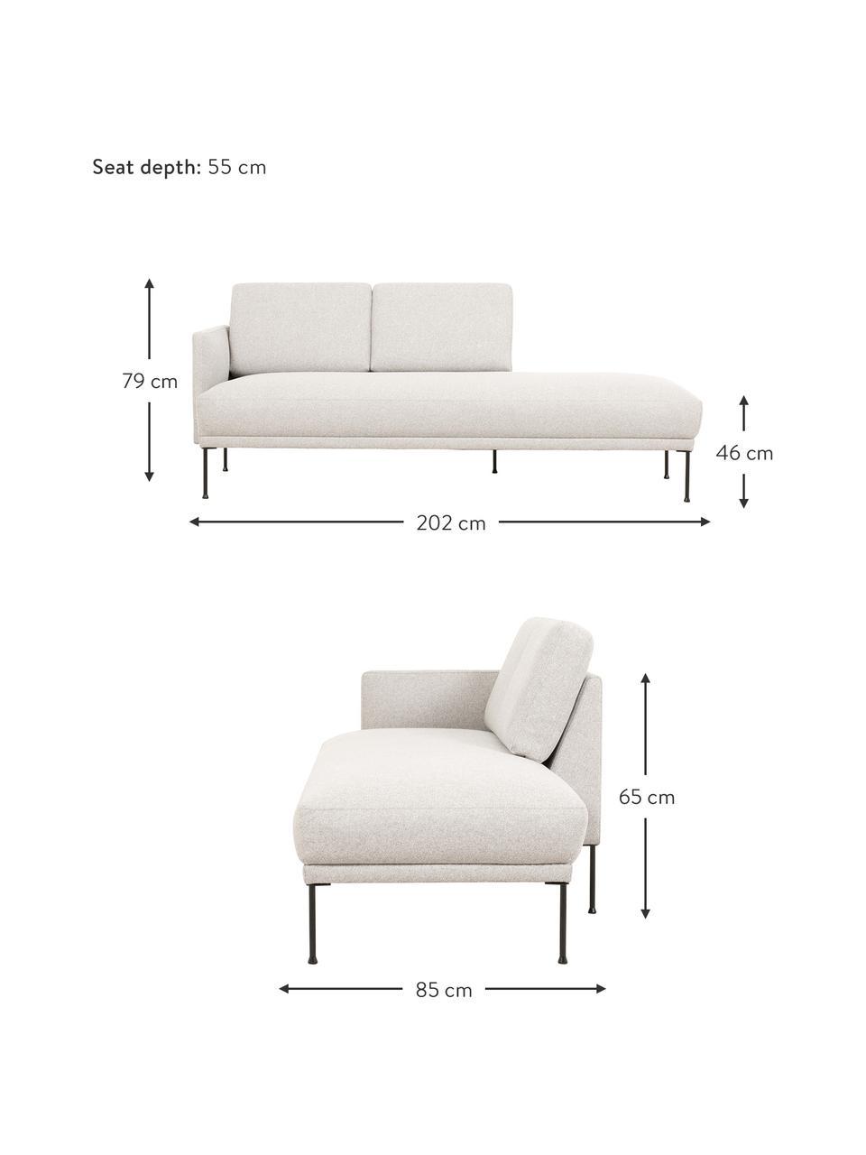 Szezlong z metalowymi nogami Fluente, Tapicerka: 80% poliester, 20% ramia , Nogi: metal malowany proszkowo, Beżowy, S 202 x G 85 cm