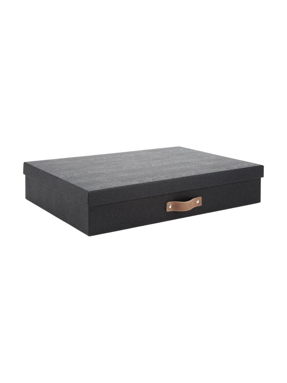 Aufbewahrungsbox Sverker II, Box: Fester Karton, mit Holzde, Griff: Leder, Organizer außen: SchwarzOrganizer innen: SchwarzGriff: Beige, 44 x 9 cm