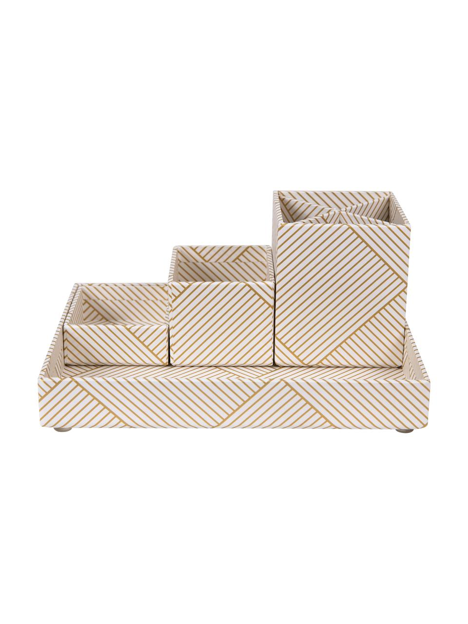 Büro-Organizer-Set Lena, 4-tlg., Fester, laminierter Karton, Goldfarben, Weiß, Sondergrößen