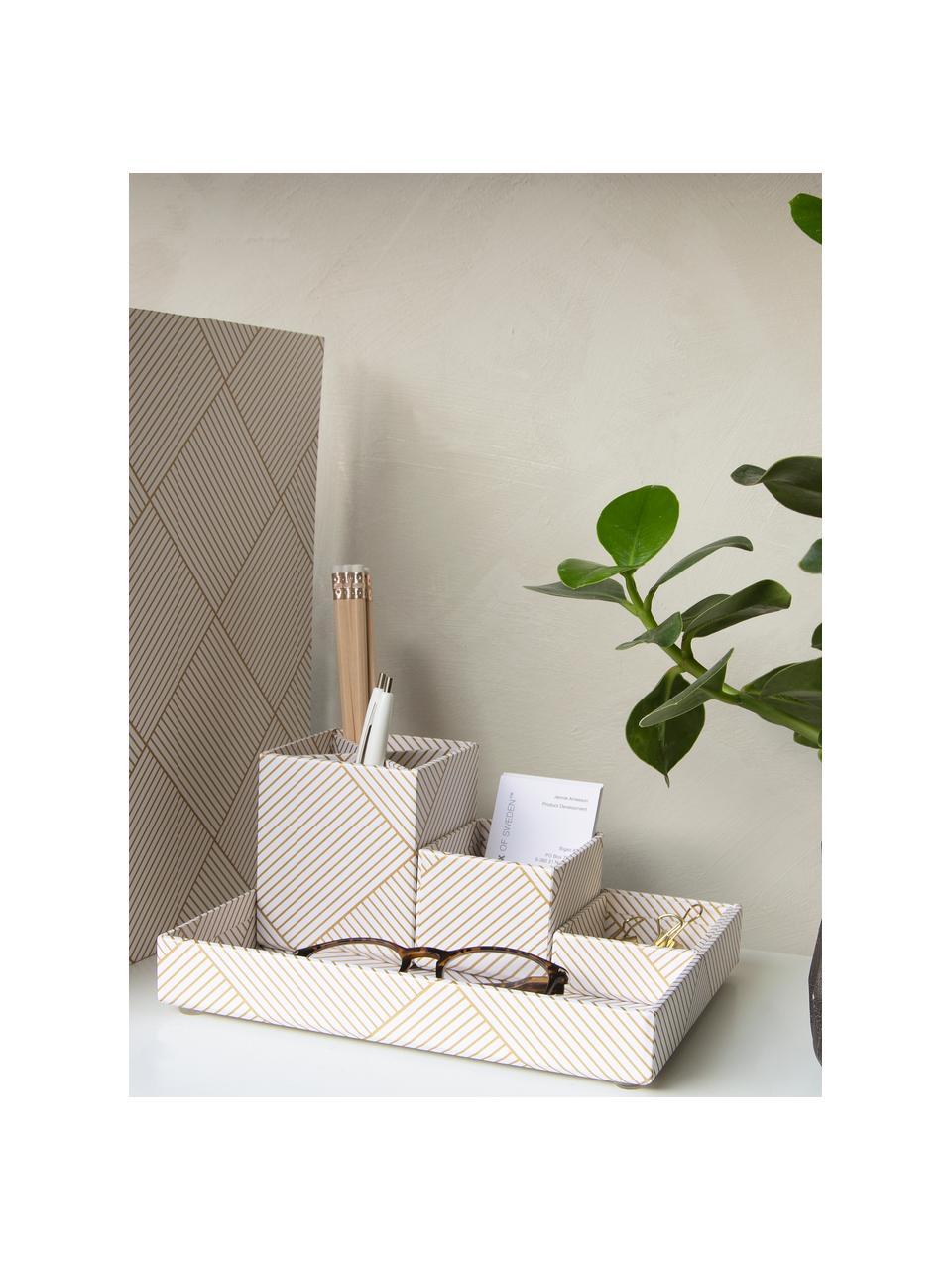 Set organizer da ufficio Lena 4 pz, Solido, cartone laminato, Dorato , bianco, Set in varie misure