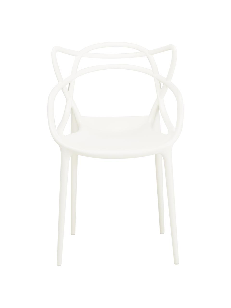 Sedie con braccioli impilabile Masters 2 pz, Polipropilene, Bianco, Larg. 57 x Alt. 84 cm