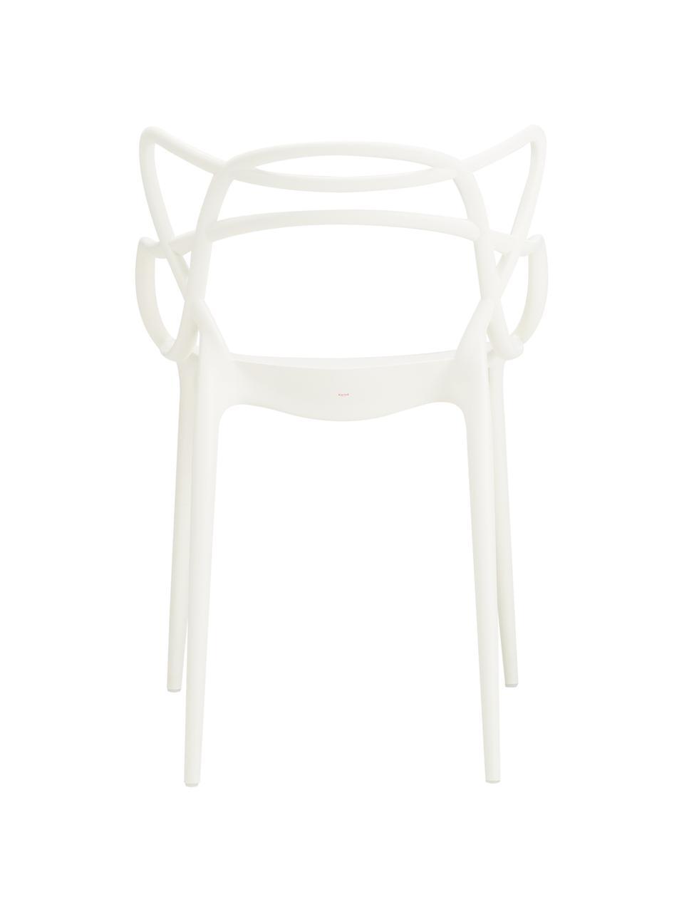 Krzesło z podłokietnikami Masters, 2 szt., Polipropylen, Biały, S 57 x W 84 cm