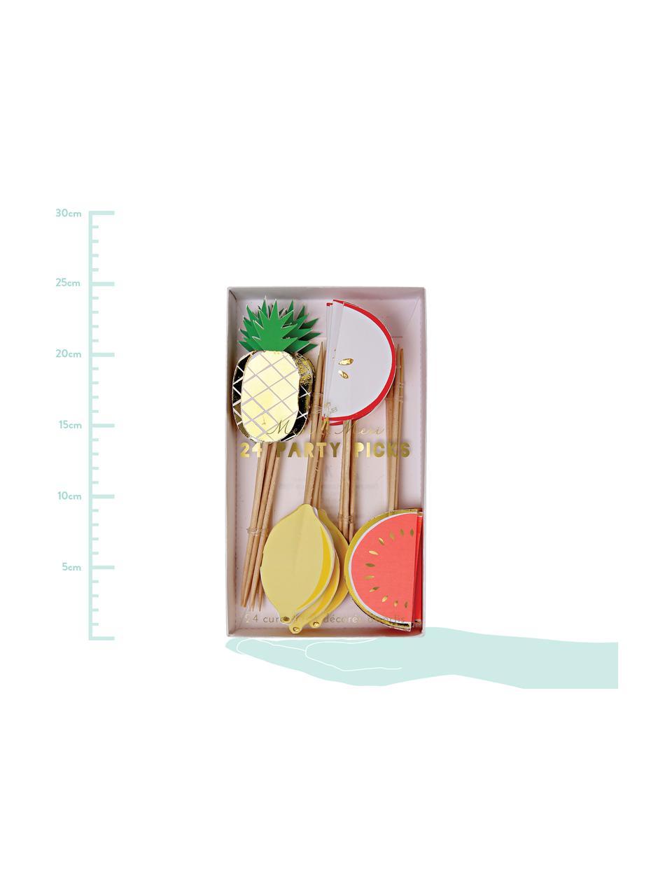 Komplet wykałaczek z papieru Fruit Party, 24 elem., Papier, drewno naturalne, Wielobarwny, D 11 x S 2 cm