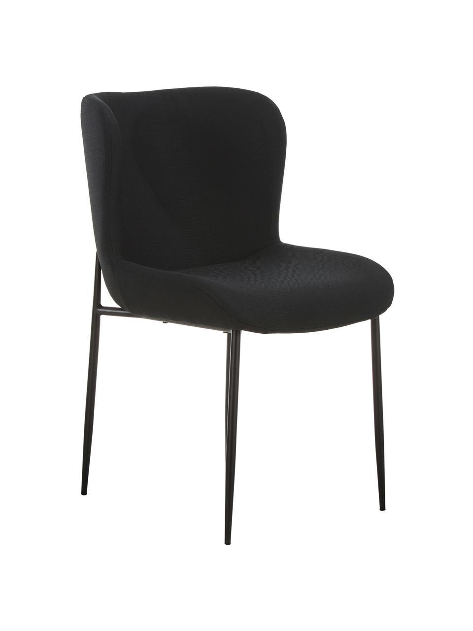 Gestoffeerde stoel Tess in zwart, Bekleding: polyester, Poten: gepoedercoat metaal, Geweven stof zwart, poten zwart, B 49 x D 64 cm