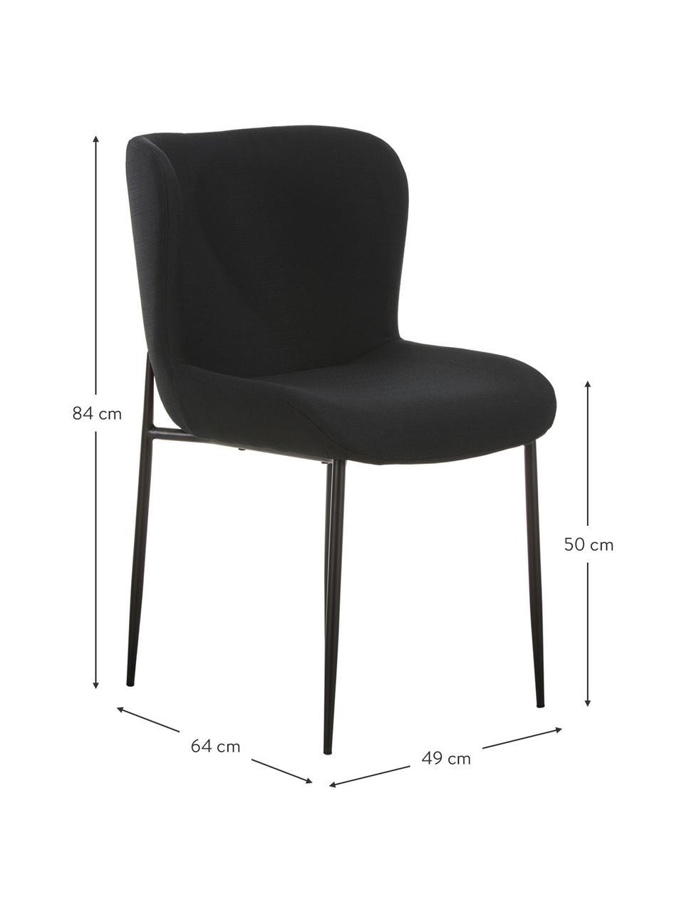 Polsterstuhl Tess in Schwarz, Bezug: Polyester Der hochwertige, Beine: Metall, pulverbeschichtet, Webstoff Schwarz, Schwarz, B 49 x T 64 cm