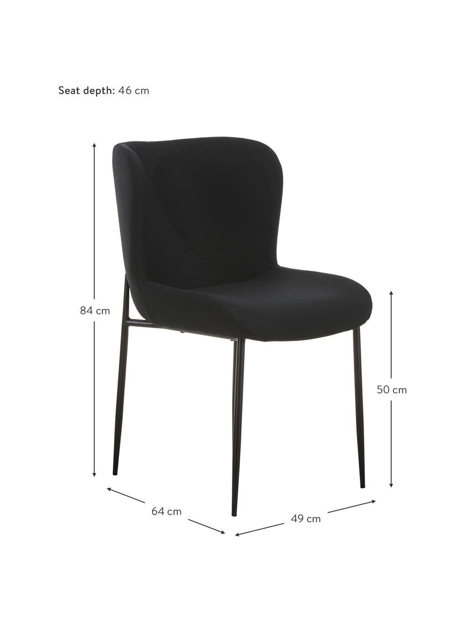 Krzesło tapicerowane Tess, Tapicerka: poliester Dzięki tkaninie, Nogi: metal malowany proszkowo, Czarny, S 49 x G 64 cm