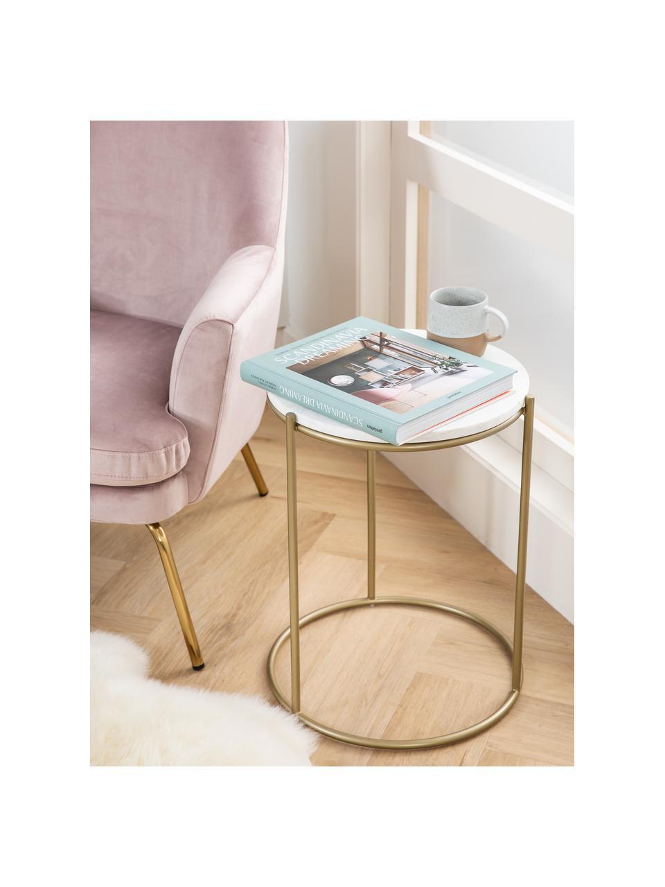 Tavolino rotondo con piano in marmo Ella, Struttura: metallo verniciato a polv, Piano d'appoggio: marmo bianco Struttura: dorato opaco, Ø 40 x Alt. 50 cm