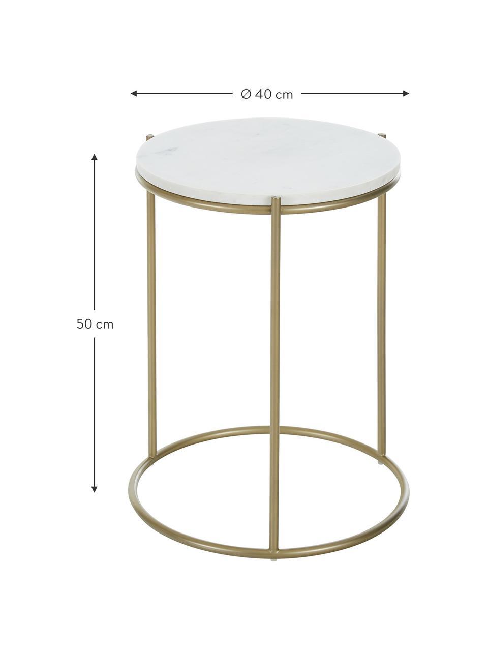 Runder Marmor-Beistelltisch Ella, Tischplatte: Marmor, Gestell: Metall, pulverbeschichtet, Weißer Marmor, Goldfarben, Ø 40 x H 50 cm