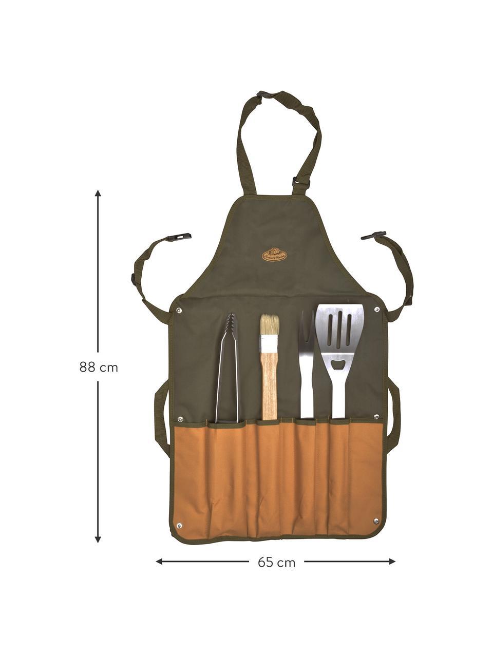 Komplet do grillowania Bob, 5elem., Zielony, brązowy, S 65 x W 88 cm