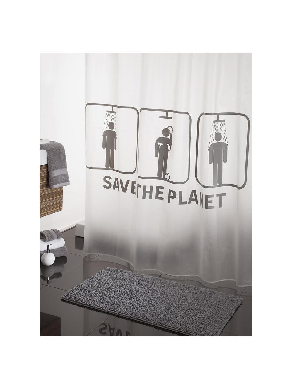 Rideau de douche blanc à motif Save the Planet, Blanc, gris