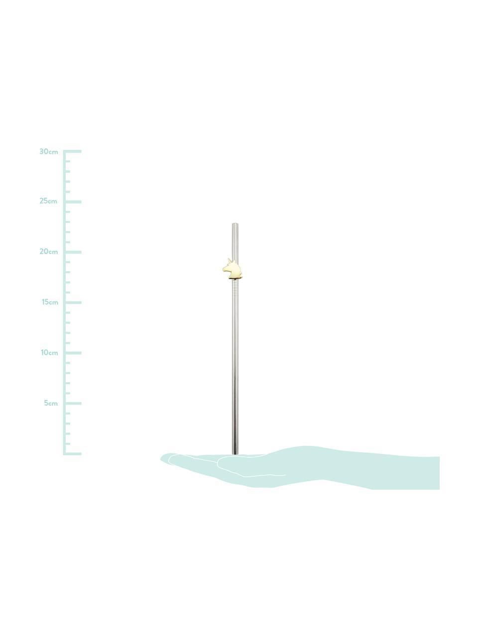 Komplet słomek Unicorn, 5 elem., Stal szlachetna, odcienie mosiądzu, D 23 cm