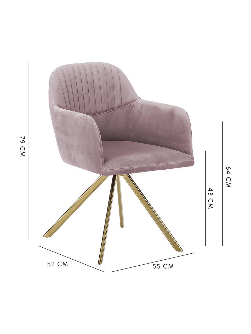 Aksamitne krzesło obrotowe z podłokietnikami Lola, Tapicerka: aksamit poliestrowy Dzięk, Nogi: metal galwanizowany, Aksamitny mauve, nogi: złoty, S 58 x G 53 cm