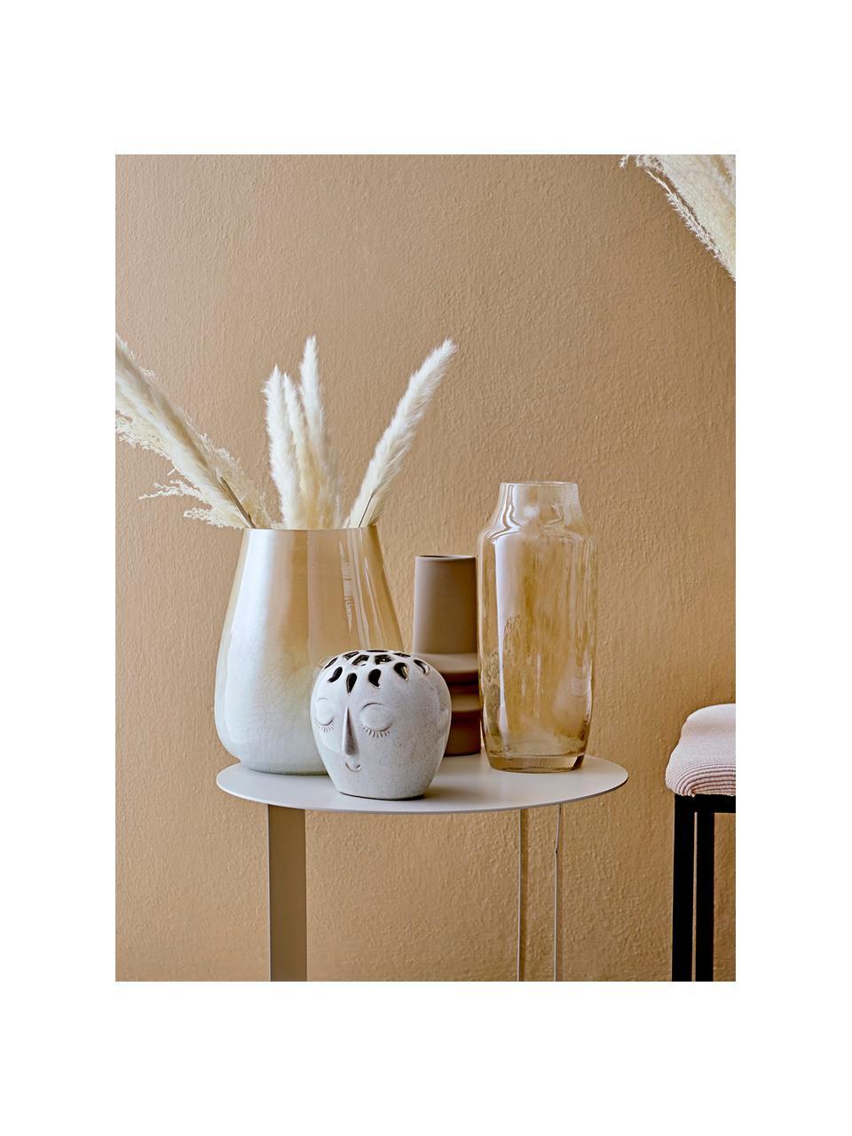 Vaso decorativo in vetro giallo Anetta, Vetro, Beige trasparente, Ø 13 x Alt. 31 cm
