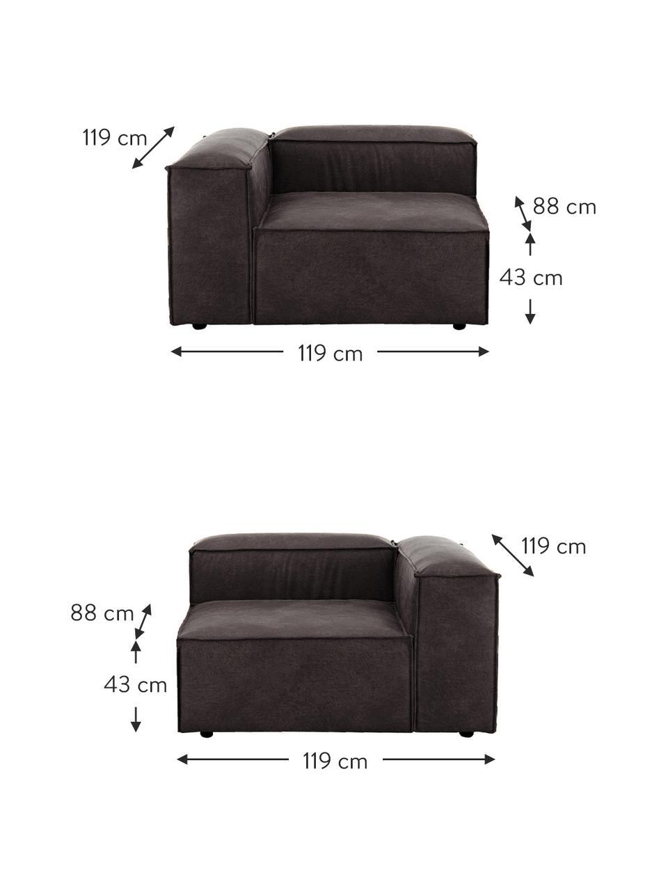Modulares Sofa Lennon (3-Sitzer) in Braungrau aus recyceltem Leder, Bezug: Recyceltes Leder (70% Led, Gestell: Massives Kiefernholz, Spe, Füße: Kunststoff Die Füße befin, Leder Braungrau, B 238 x T 119 cm