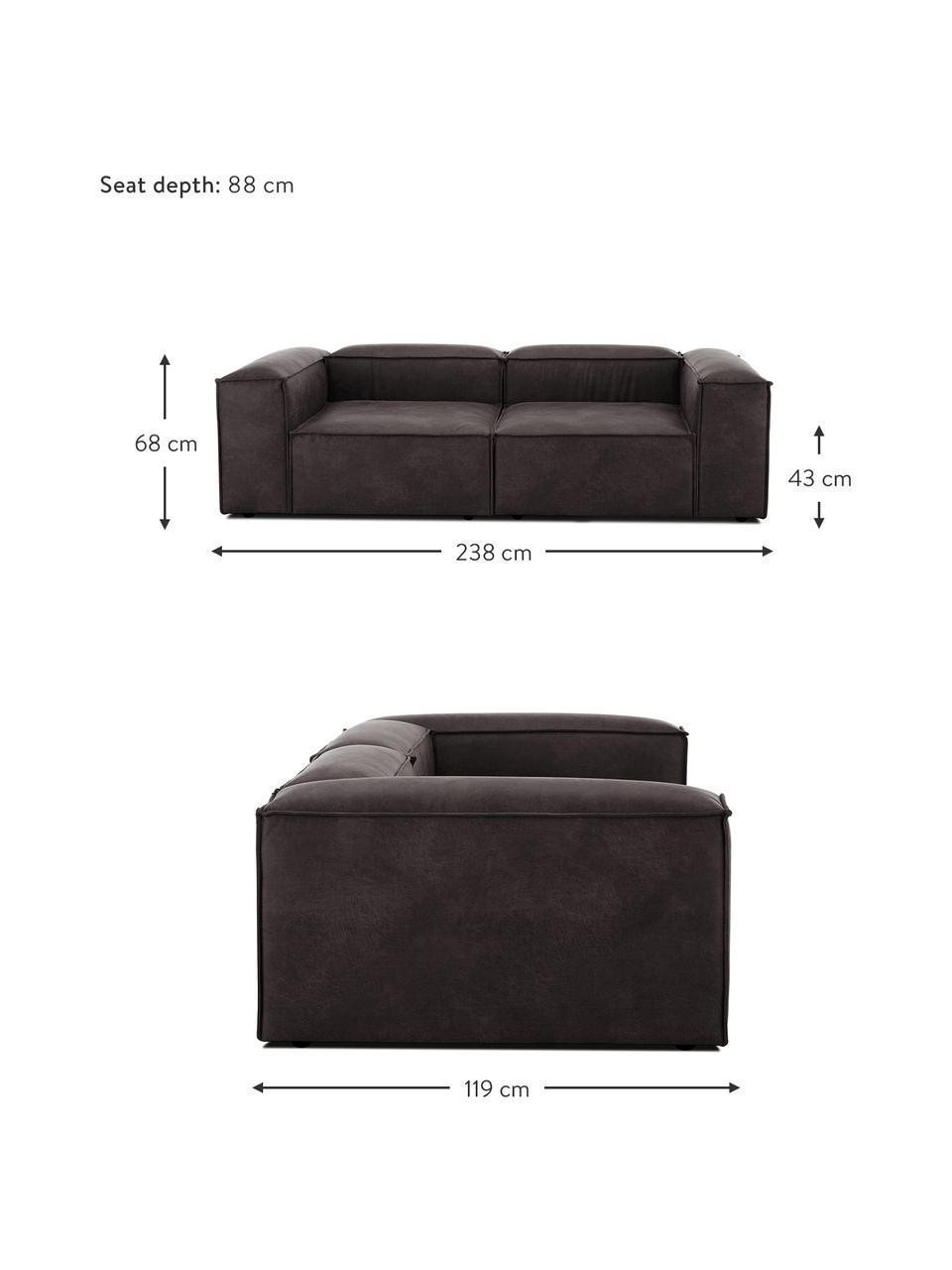 Sofa modułowa ze skóry z recyklingu Lennon (3-osobowa), Tapicerka: skóra pochodząca z recykl, Stelaż: lite drewno sosnowe, skle, Nogi: tworzywo sztuczne Nogi zn, Szarobrązowy, S 238 x G 119 cm