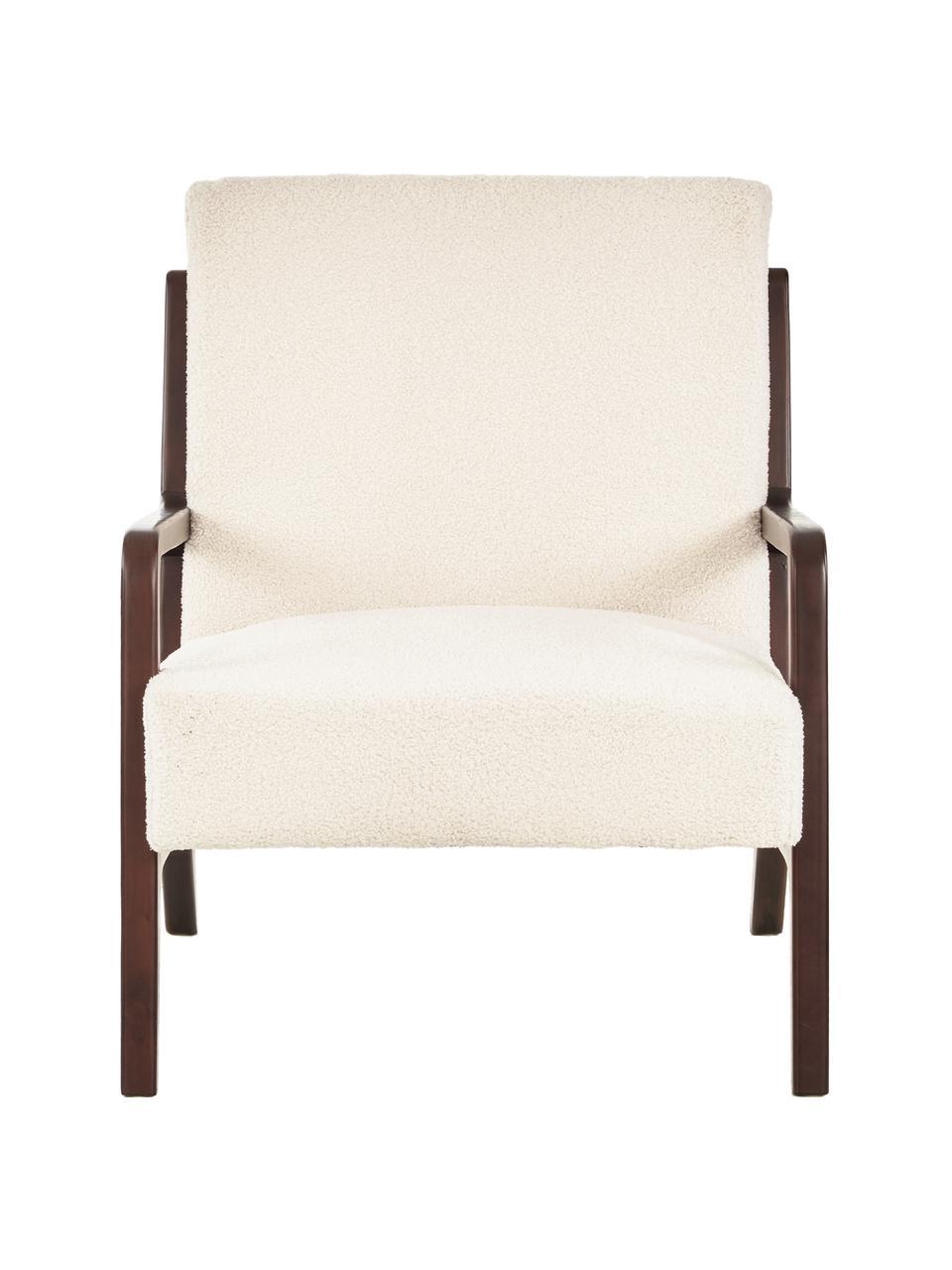 Teddy-Sessel Naja mit Armlehnen aus Eichenholz, Bezug: Polyester (Kunstfell, Ted, Gestell: Eichenholz, massiv und ge, Teddy Cremeweiß, B 76 x T 67 cm