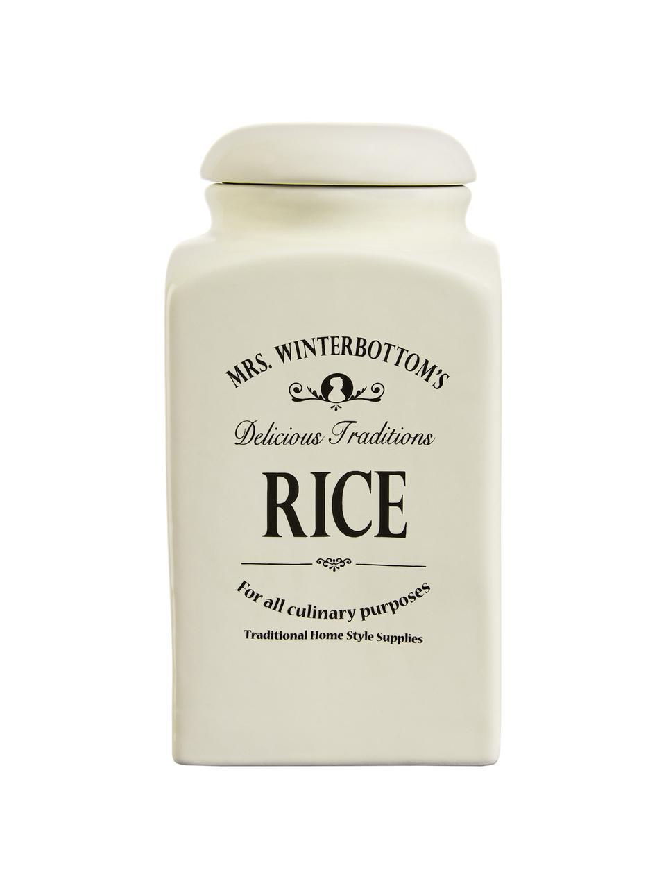 Aufbewahrungsdose Mrs Winterbottoms Rice, Ø 11 x H 21 cm, Steingut, Creme, Schwarz, Ø 11 x H 21 cm