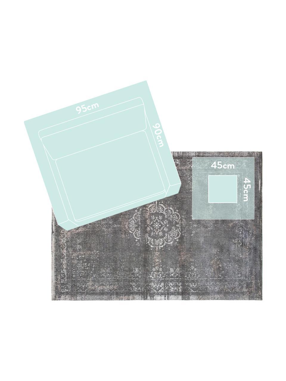 Vintage chenille vloerkleed Medaillon, Weeftechniek: jacquard, Grijs, beige, B 80 x L 150 cm (maat XS)