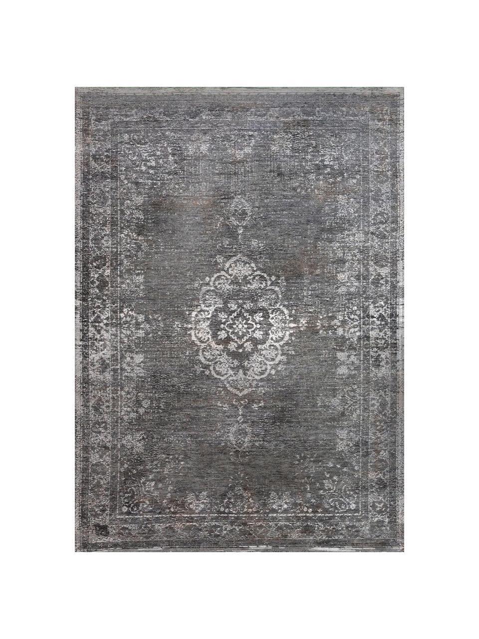 Tappeto vintage in ciniglia color grigio/beige Medaillon, Grigio, beige, Larg. 80 x Lung. 150 cm (taglia XS)