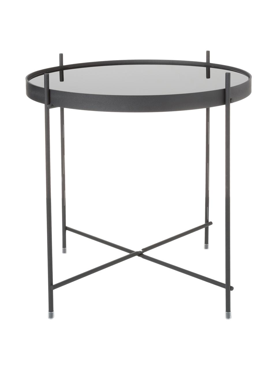 Tablett-Beistelltisch Cupid mit Glasplatte, Gestell: Eisen, pulverbeschichtet, Tischplatte: Schwarzglas, Schwarz, Ø 43 x H 45 cm