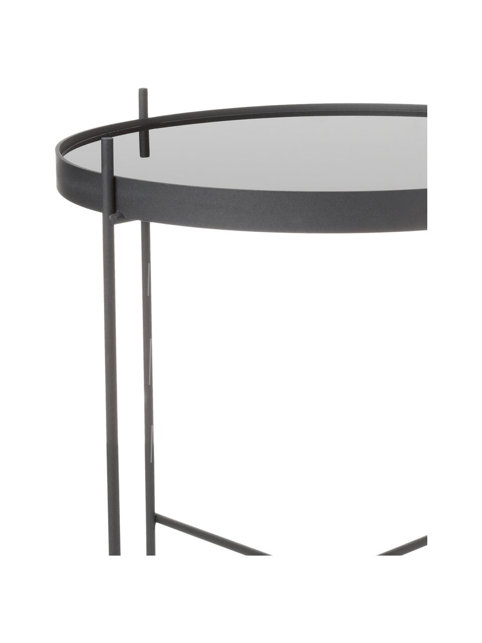Stolik pomocniczy ze szklanym blatem  Cupid, Stelaż: żelazo malowane proszkowo, Blat: czarne szkło, Czarny, Ø 43 x W 45 cm