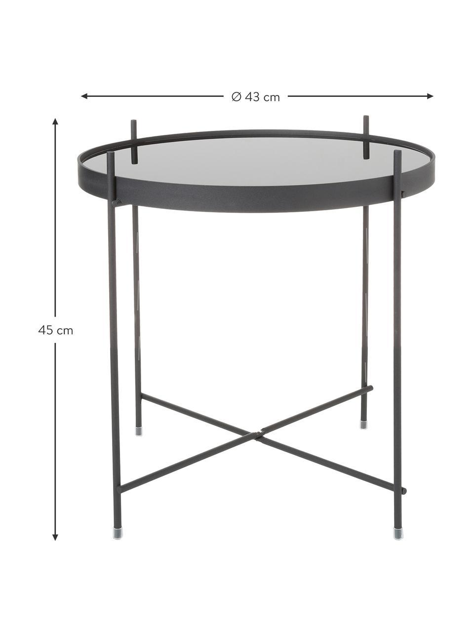 Tavolino-vassoio con piano in vetro Cupid, Struttura: ferro verniciato a polver, Nero, Ø 43 x Alt. 45 cm