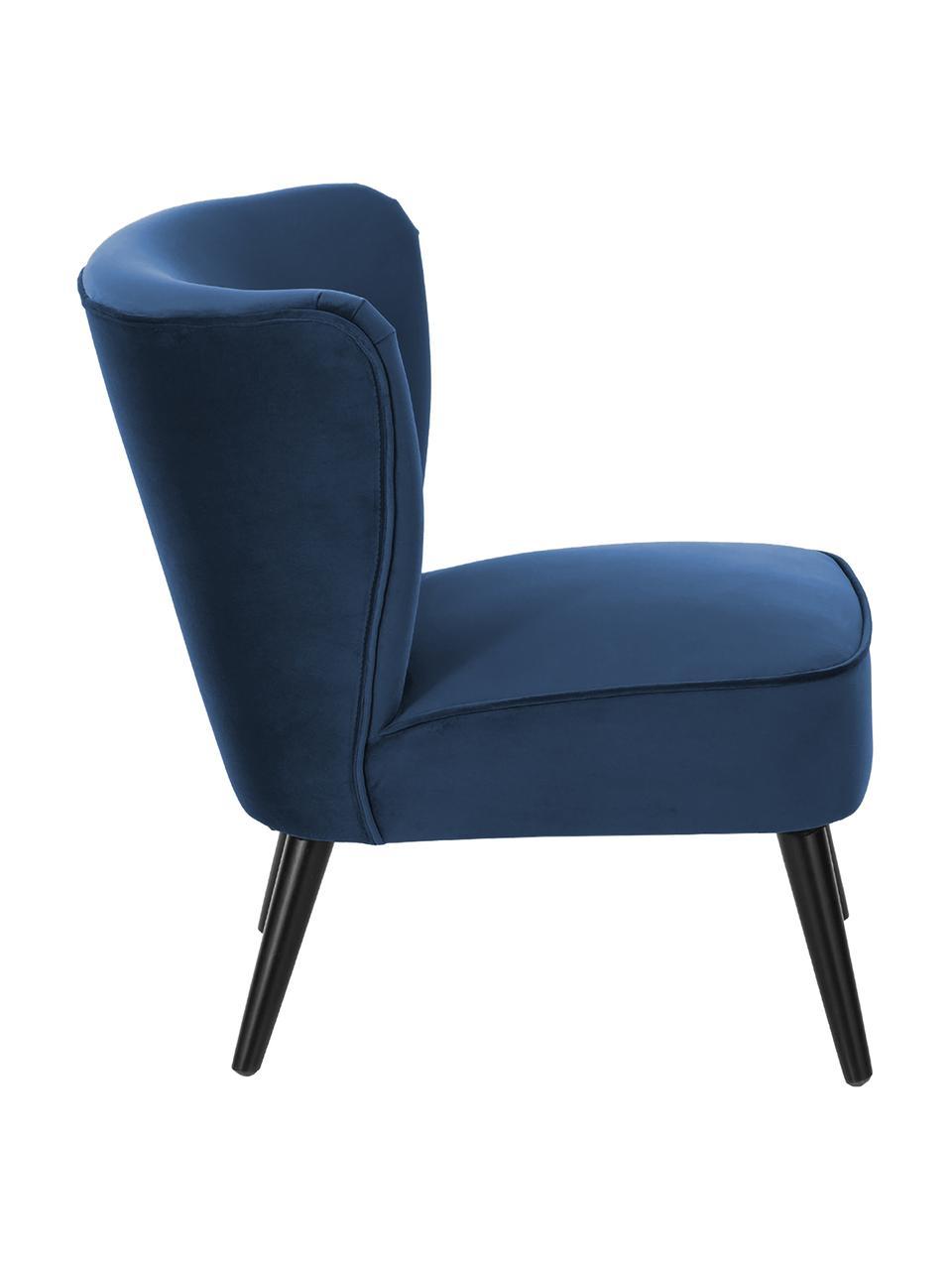 Fotel koktajlowy z aksamitu Robine, Tapicerka: aksamit (poliester) Dzięk, Nogi: drewno sosnowe, lakierowa, Aksamitny ciemny niebieski, S 63 x G 73 cm