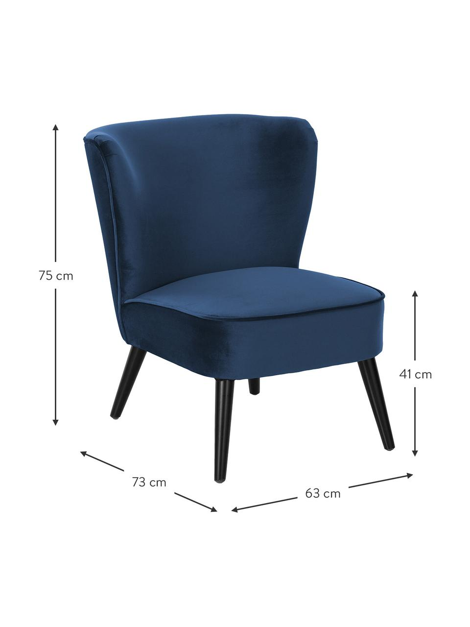 Poltrona in velluto blu Robine, Rivestimento: velluto (poliestere) 30.0, Piedini: legno di pino, verniciato, Velluto blu scuro, Larg. 63 x Prof. 73 cm