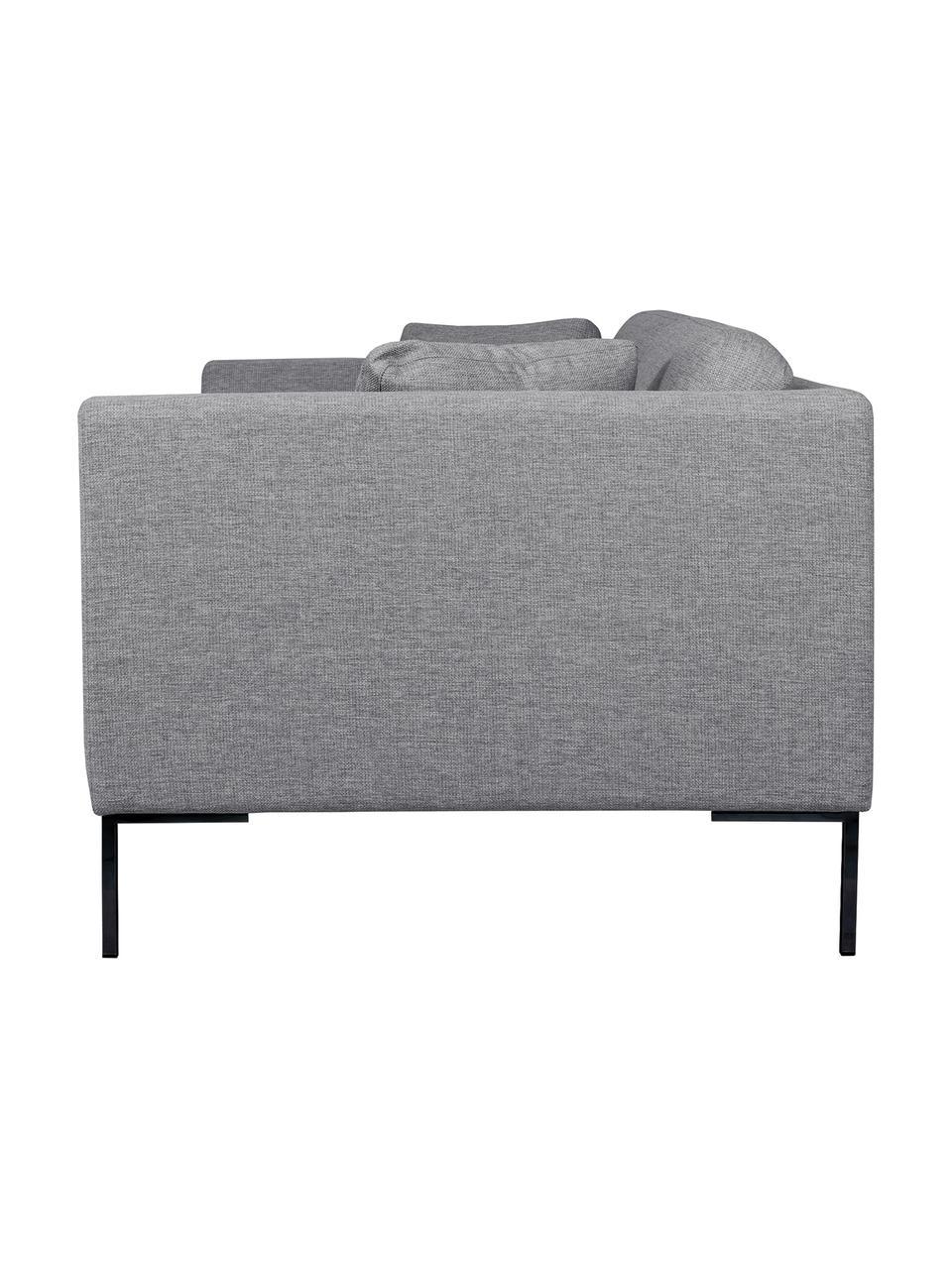 Canapé 2 places gris Emma, Tissu gris, pieds noirs