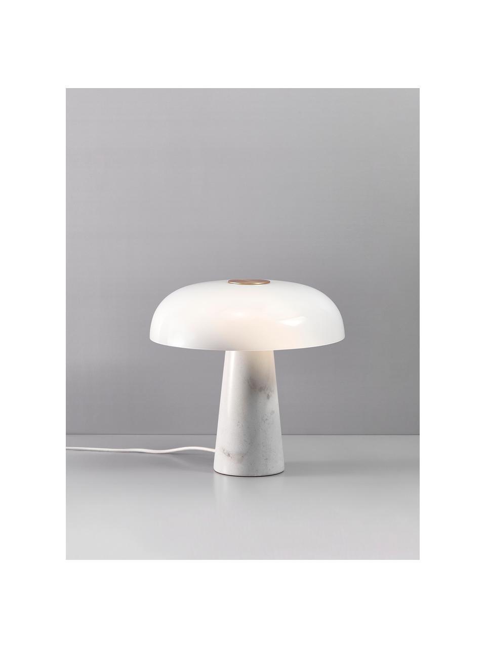 Stolní lampa s mramorovou podstavou Glossy, Bílá
