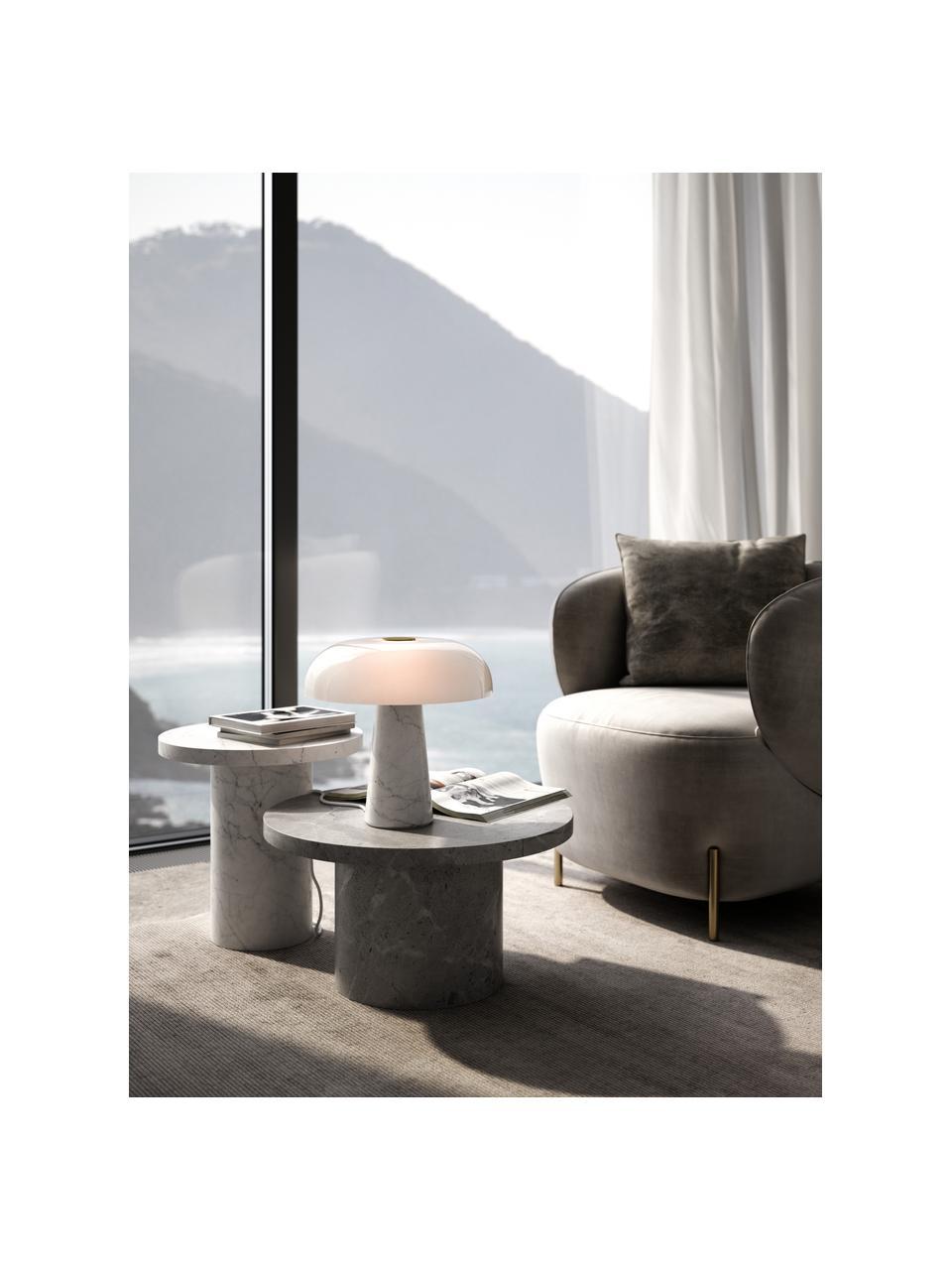 Tischlampe Glossy mit Marmorfuß, Lampenschirm: Opalglas, Lampenfuß: Marmor, Weiß, Ø 32 x H 32 cm
